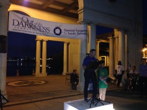 Out of the Darkness Walk Presentation, Kevin Briggs, CHP Officer Dawn by Lake Merritt October 18, 2014