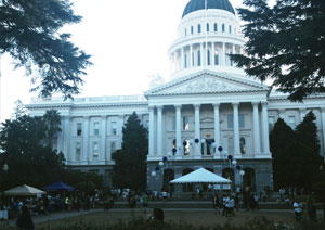 Out of the Darkness Walk Dawn over the Sacramento Capitol Building October 4, 2014